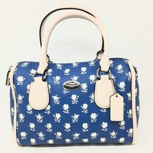 Coach Badlands Floral Blue Mini Leather Sa…